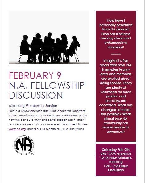 NA Fellowship Discussion @ Vancouver Recovery Club